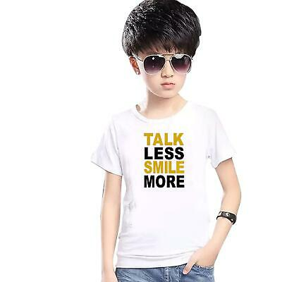 Talk Less Smile More Printed T-Shirt Kids Boys Girls Tee Top Summer Party 5137