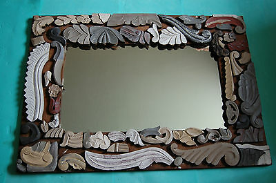 """Art Nouveau Style Hand Carved Wood Frame Heavy(15Kg) Large 42""""X30"""" Mirror"""