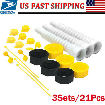 3Pack for EZ Pour Replacement Spout Replace Old Gas Can Fill Kit Fuel Jug 21PCS