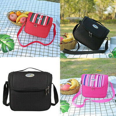 Oxford Cloth Insulated Cooler Lunch Bag Picnic Box Shoulder Thermal Double Layer