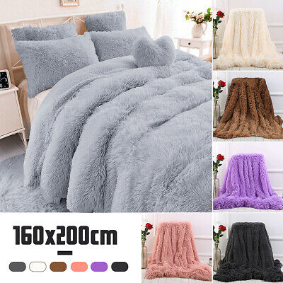Large Luxury Soft Warm Bed Sofa Throw Over Blanket Sofa Fluffy Shaggy 160*200CM