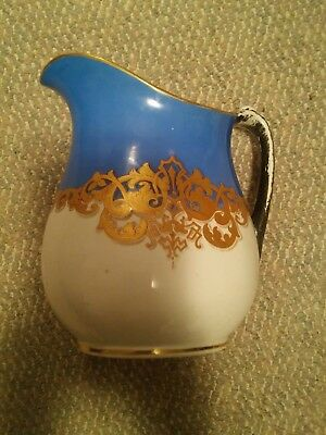 043 Vintage Blue & White Porcelain Water Pitcher Gold Accent Design Funky