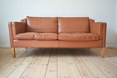 Mid-Century Danish Cognac Leather 2 1/2-Seater Sofa from Stouby, 1980s