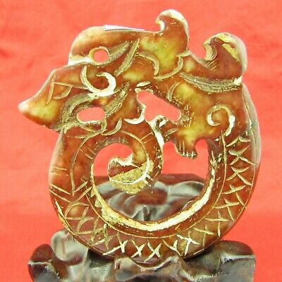 Chinese old jade hand carving Exquisite dragon jade pendant D1015