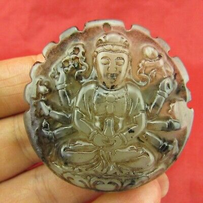 Chinese old jade hand carving Exquisite thousand hand Buddha jade pendant D1116