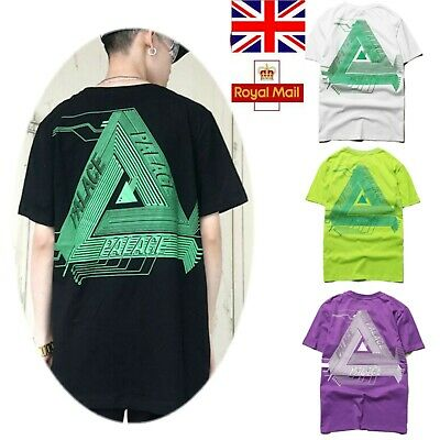 Mens Womens Palace Triangle Logo Hip-hop Skateboard Cotton Tops Tee T-shirt M-XL