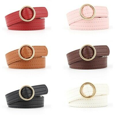 Ladies Women Round Buckle Belt Dress Jeans Faux Leather Waistband Gift hw1