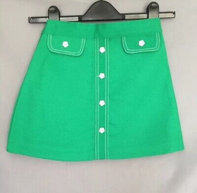 Vintage Cuckoo Girls Green A Line Skirt Button Detail 1960s 1970s Age 8