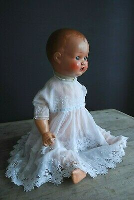 Exquisite Embroidered Victorian Baby Dress White Work Lace Batiste Vintage Doll