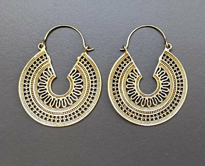 37c77ee1f Fine Mandala Handmade Banjara Tribal Ethnic Brass Boho Hoops Gypsy Earrings  E21
