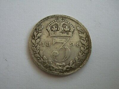 1894 Queen Victoria Silver Threepence - Uk Post Free