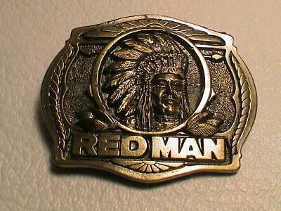 Red Man Indian Chief Chew Chewing Tobacco Brass Belt Buckle Excellent Condition