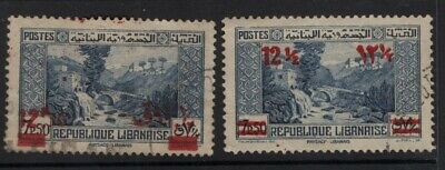 Lebanon 1938 12p 50 on 7p 50 and 12½p on 7p 50 Surcharges SG246-47 Used