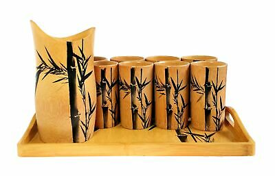 10 Piece Solid Bamboo Beverage Set Pitcher Cup Serving Tray