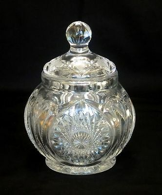 Vtg Starburst Pattern Press Cut Relish Jar with Lid