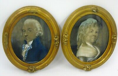 Pair 18th Century Georgian Portraits of Lady & Gentleman c1785 Skekell Pebsworth
