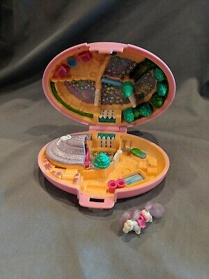 Vintage Polly Pocket Shetland Pony Horse Stable 1995 Bluebird Pink Compact Only