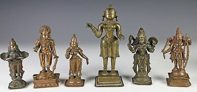 Great Group of 6 Antique Indian India Bronze Statues