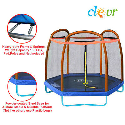 Clevr 7 Ft. Trampoline Bounce Jump Safety Enclosure Net W/ Spring Pad Orange