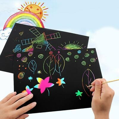 Multicolor Rainbow Scratch Paper With Wooden Stylus Kids DIY Art Toy OO55 02
