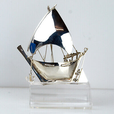 Vintage Sterling Silver Hallmarked Intricate Boat Model Ship Statue Sailing Gift