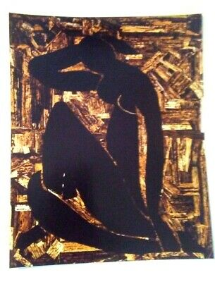 Signed Nude Naked Woman Photo Art Deco Abstract Matted & Framed