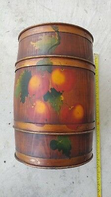 Vintage wood barrel keg Spaulding + Frost apples folk art Bucks County PA paint