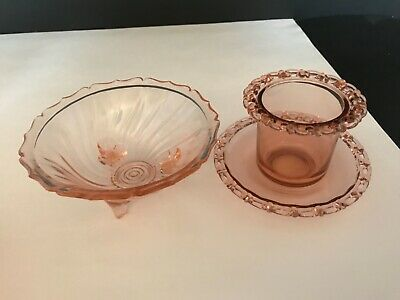 Pink Depression Glass Swirl Footed Vase & Lace Custard Cup With Underplate