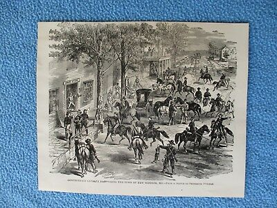 1885 Civil War Print - Confederate Cavalry Ransacking New Windsor, Maryland