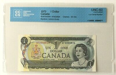 1973 1 Dollar Bank of Canada • Low serial number • CCCS UNC-60