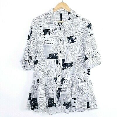 13746b8f0fa IC By Connie K Newspaper Lagenlook Oversized Peplum Tunic Button Blouse M