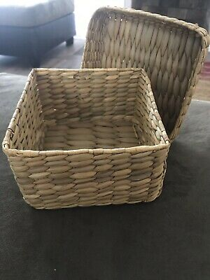 Philippines Woven Basket with Lid 6 by 6 by 4 inches Very Good Condition