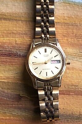 Vintage Citizen Quartz Water Resist Gold Tone Face Ladies Women's Officer Watch