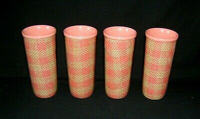 SET OF 4 Pink/Burlap Weave VINTAGE Thermo Insulated Double Wall TUMBLERS GLASSES