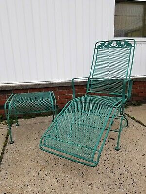 Vintage Woodard Wrought Iron Patio Coil Spring Chaise Lounge Table Chair 9 Piece