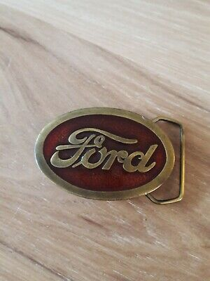 Vintage Ford Belt Buckle 1977 Indiana Metal Craft Brass Red Resin