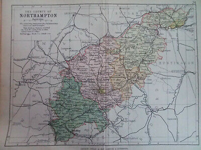 NORTHAMPTONSHIRE + RAILWAYS ANTIQUE BARTHOLOMEWS  MAP 1890 7inx 9in