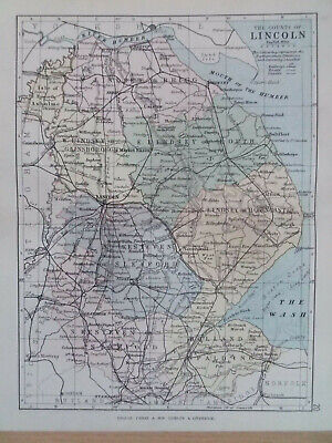 LINCOLNSHIRE + RAILWAYS ANTIQUE BARTHOLOMEWS  MAP 1890 7inx 9in