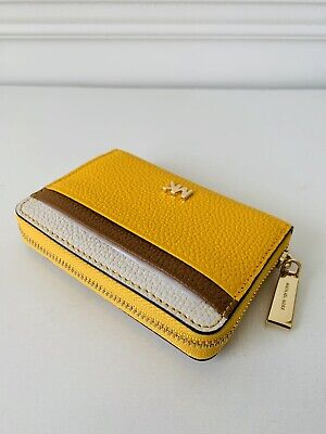 0ae7135ad4b1c8 NWT Michael Kors Money Pieces Zip Around Card Case Coin Purse Yellow Leather