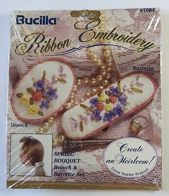 Vintage Bucilla Ribbon Embroidery Kit ~ Spring Bouquet Brooch & Barrette NEW!