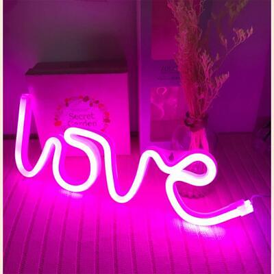 Hopolon Pink Love Neon Sign, LED Neon Light Sign for Party Supplies Girls Room