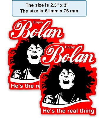 2 x MARC BOLAN KISS-CUT FRIDGE MAGNETS - ENJOY BOLAN - HE'S THE REAL THING
