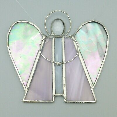 Angel Leaded Stained Glass Suncatcher Window Decor Wall Art Faceted Head Pink