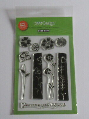Hero Arts Clear Design Stamp Set - Heart Flowers - CL159 - New.