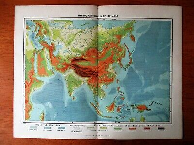 """1895 Antique Hypsographical Map of Asia 13"""" x 10.5"""""""