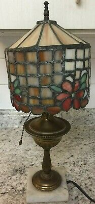Antique Leaded Stained Glass Arts Crafts Tiffany Handel Style Brass Lamp & Shade