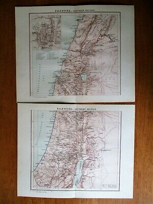 """1895 Antique Maps of North & South Palestine 13"""" x 10.5"""""""