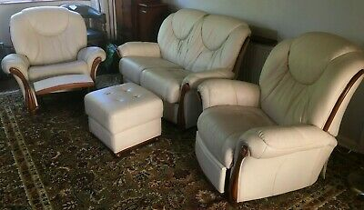 Leather Two Seater Sofa & Reclining Chairs Italian Made