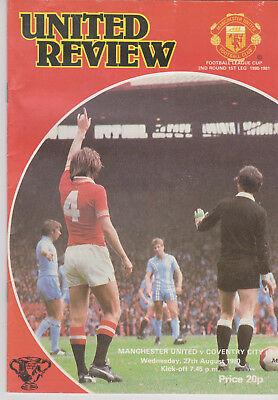 Programme / Programma Manchester United v Coventry City 27-08-1980 League Cup