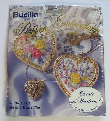 Vintage Bucilla Ribbon Embroidery Kit ~ 2 Springtime Heart Pins NEW!
